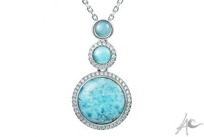 Circle Pendant (32x17 mm) - Larimar