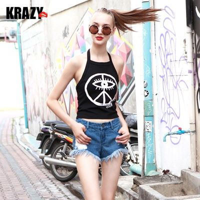 Early autumn put graffiti eyes stretch slim neck vest hanging hanging women - Bonny YZOZO Boutique Store