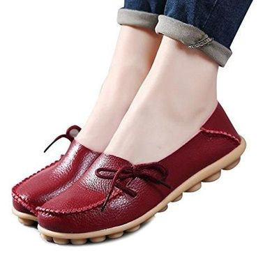 Women Flats Cut-Outs Comfortable Casual Shoes Round Toe Loafers Moccasins Wild Breathable Driving Shoes (7, WineRed2) $15.99