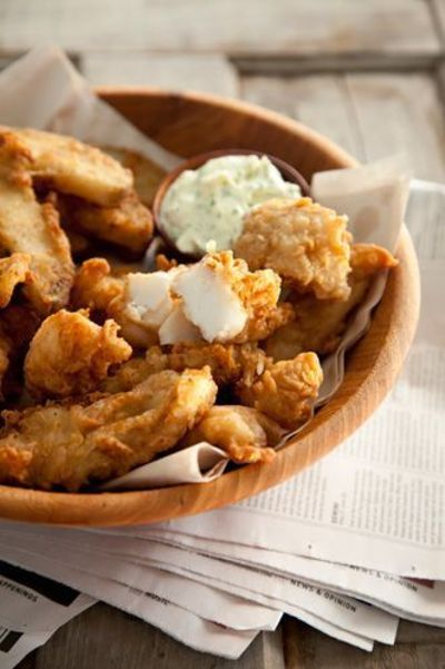 Paula deen beer battered fish and chips made these for for Beer batter fish and chips