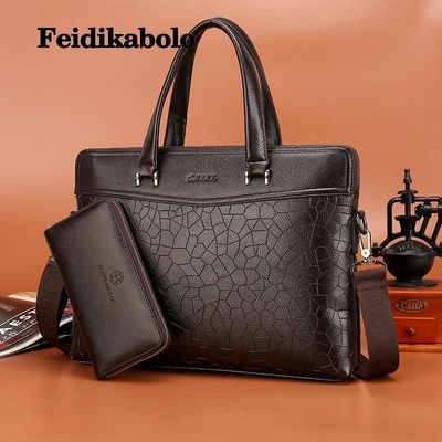 Feidikabolo Pu Leather Men Handbags Laptop Messenger Bags Crossbody Business Shoulder Bags For Men Briefcase With Clutch FD042