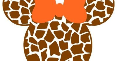 Personalized Giraffe Print Mickey OR Minnie Mouse DIY Iron on Decal. $7.00, via Etsy.