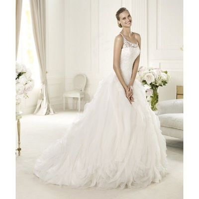 Honorable Ball Gown One Shoulder Beading Lace Ruching Sweep/Brush Train Organza Wedding Dresses - Dressesular.com