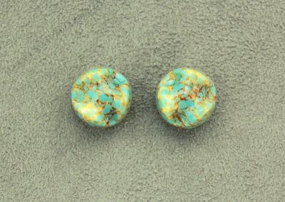 15 mm Turquoise and Gold Glass Magnetic Clip On Earrings $30.00 Designed by LauraWilson.com
