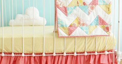 Bumperless Coral Baby Girl Crib Bedding on Etsy, $415.00