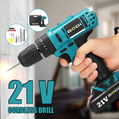 "21V 2-Speed Electric Cordless Power Drills Kit 3/8"" Driver Screwdriver W/ 1or 2 Battery"