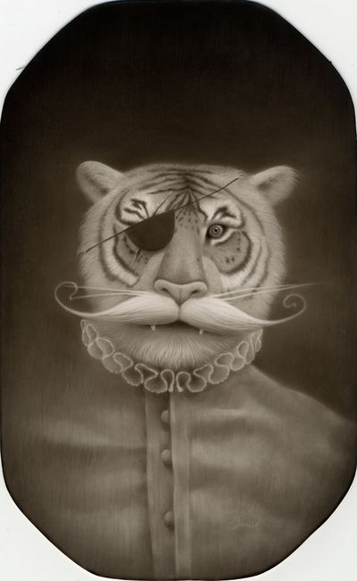 """""""Sir Walter Bengalfoot"""" graphite and acrylic on board / Travis Louie"""