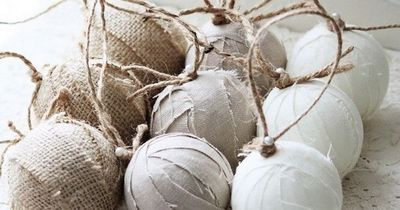 rustic christmas balls...wrap styrofoam balls with burlap..linen strips...hang with twine