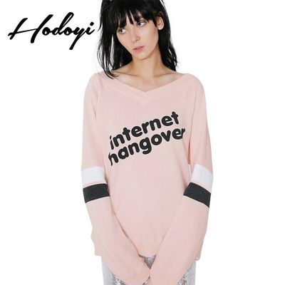 Oversized Vogue Simple Printed Solid Color V-neck Alphabet Fall 9/10 Sleeves Hoodie - Bonny YZOZO Boutique Store