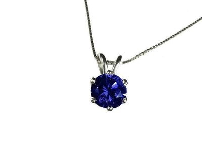 """Necklace Sapphire Pendant 3mm 3.5mm 4 mm 4.5mm 5 mm in 14K White or Yellow gold including 16.5"""" chain Minimalist pendant $255.00"""