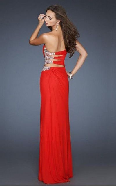 Embellished Cutout Gown by La Femme 18771 Red