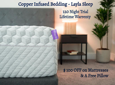 The copper infused bedding by Layla Sleep is best for side sleepers. Our copper infused mattress has double firmness options with one side firm and other side soft. Call us or visit our website for any details.