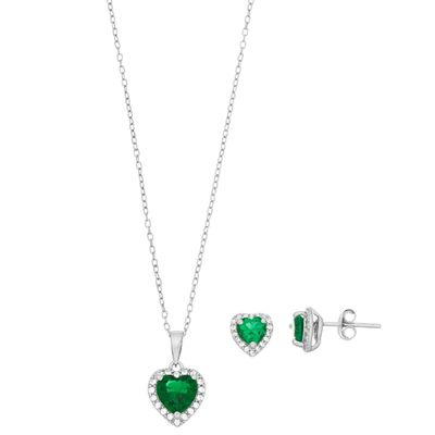 Sterling Silver Simulated Emerald & Lab-Created White Sapphire Heart Halo Jewelry Set $137.50