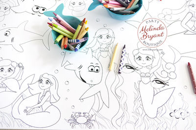 Mermaid Birthday Decor Coloring Page Table Runner Pirate First Birthday Decorations Wedding Kids Craft Children's Party Games Activities $25.88