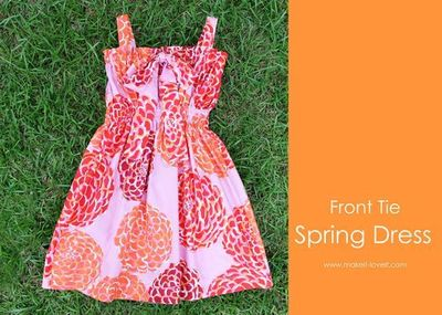 """Front Tie Spring Dress �€"""" {Great for all ages}   Make It and Love It, no shirring, just elastic casing - super easy!"""