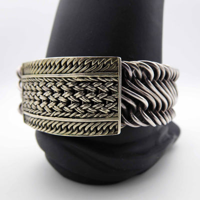 Lois Hill Sterling Silver Bracelet with Rectangle Two Tone Woven Face on Abstract Figure Braided Chain Modern Signed Design $395.00