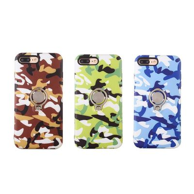 Camouflage Camo Printing Phone Case with Ring Holder Silm Fit Shockproof Phone Shell Cover for iPhone 7/8 Plus / iPhone X $9.99