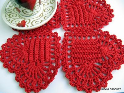 Crochet Pattern Red Heart Coaster Valentine Day G Knits And
