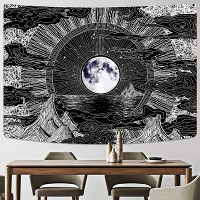 Moon and Star Tapestry Clouds Tapestries Black Tapestry Psychedelic Mountain Tapestry for Room $30.49