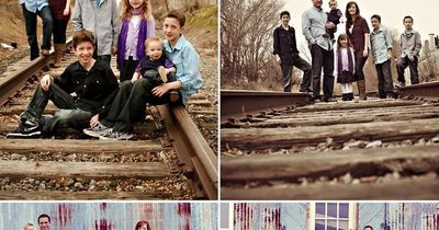 rustic family portrait, train tracks, warehouse, kids, children, outfits, colors, Gilmore Studios