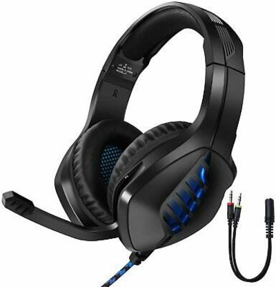Gaming Headset Wired PS4 PC Noise Cancelling Over Ear Headphones Mic