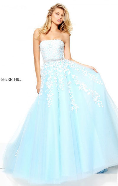 Sherri Hill 50864 Open Back Light Blue/Ivory Lace Applique ...