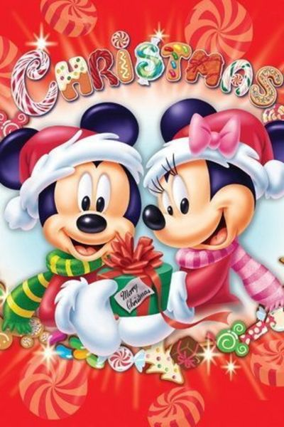Christmas Mickey Mouse And Minnie Mouse Iphone Wallpaper Bac