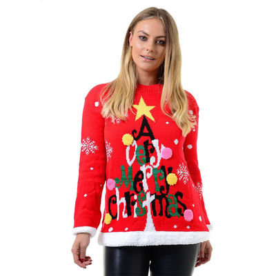 NEW   UK   Men's   Womens   Ladies   Merry Christmas   Tree   Jumper   Sweater   Top   Long Sleeve   Crew Neck   100 % Acrylic   Knitted   £15.99