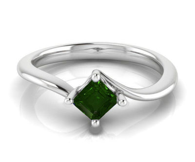 14K Square Emerald Solitaire Engagement Ring, Twist Solitaire Ring, Filigree Green Engagement Ring $715.00