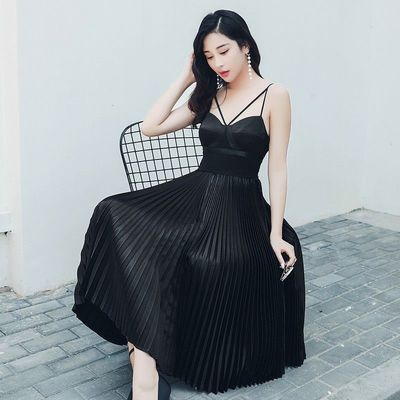 Sexy Open Back Pleated Curvy Black Mid-length Skirt Strappy Top Dress - Bonny YZOZO Boutique Store