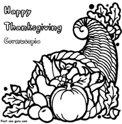 Free Printable thanksgiving Cornucopia coloring page for kid