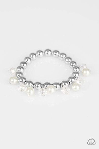 Paparazzi Once In A Millennium - Silver Bead White Pearl Crystal Bead Bracelet $5.00