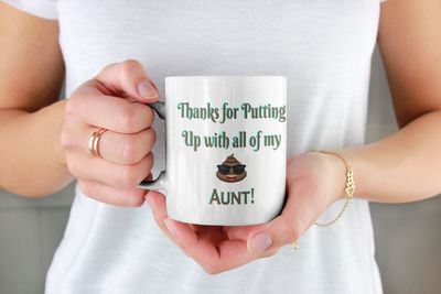 Funny Aunt Mug Gift, Thanks For Putting Up With All My Shit Aunt, Aunt Gift, Aunts Birthday Or Christmas Gift $16.73