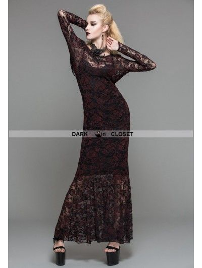Name: devil fashion red lace romantic gothic long dress  Including: dress  Feature 1.a beautifully detailed sheer red and black lace design  2.a dramatic cowl style plunge back