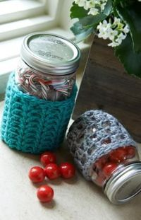 red heart yarn, crochet patterns and mason jar cozy.