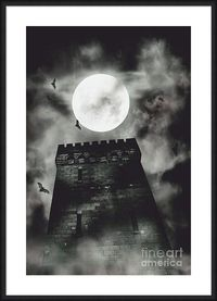 Haunted Castle Framed Print | Spooky halloween style image of a creepy dark castle tower under a full moon of bats and atmospheric rising fog. Tower of terror | #hauntedcastle #horrorart #halloweendecor #spooky #atmosphere #artprints #framedart #framedpri...