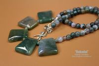 Necklace of beads. Ring with Indian agate. A set of jewelery made from stone beads of Indian agate. $48.00