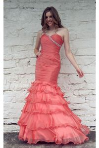 Pink Organza Trumpet Mermaid Prom Dress