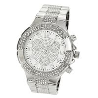 Men's platinum plated iced out hip hop Bling Watch w21 £32.95