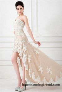 High To Low White Beaded Lace Prom Dresses 2015