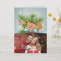Rustic Gingerbread Photo Christmas Holiday Card