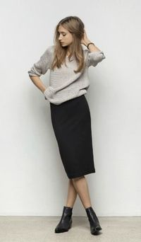 Fall style with sweater and pencil skirt