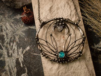 Pendant Blue Grass. Boho necklace with natural stone- quartz and moonstone. Witchcraft necklaces. $99.00
