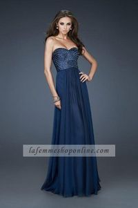 Top Sequin Strapless Sweetheart Long Navy Prom Dresses For Cheap