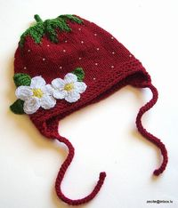 Knit Baby girls red Strawberry Hat / size 24T by MiaPiccina,