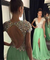 Sexy Deep V Neck Backless Light Green Chiffon Beaded Prom Dress With Sleeves
