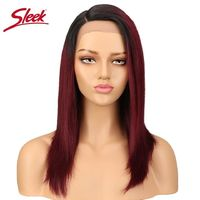 Sleek Straight Lace Front Human Hair Wigs For Women Brazilian Ombre Human Hair Wig Blond Straight Lace Front Wig Free Shipping $164.49