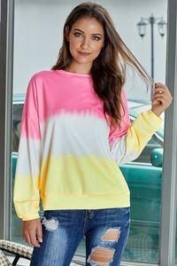 Pink Color Block Tie Dye Pullover Sweatshirt $15.88