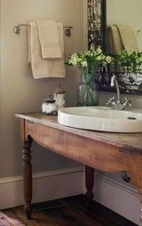 - Pretty bathroom sink set in an old wooden table....
