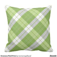 Greenery Plaid Print Throw Pillow